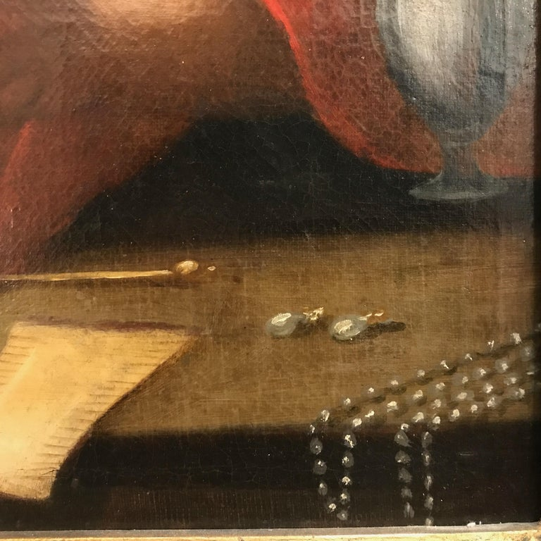 Italian Old Master Penitent Magdalene 18th Century Oil Painting on Canvas In Good Condition For Sale In Milan, IT