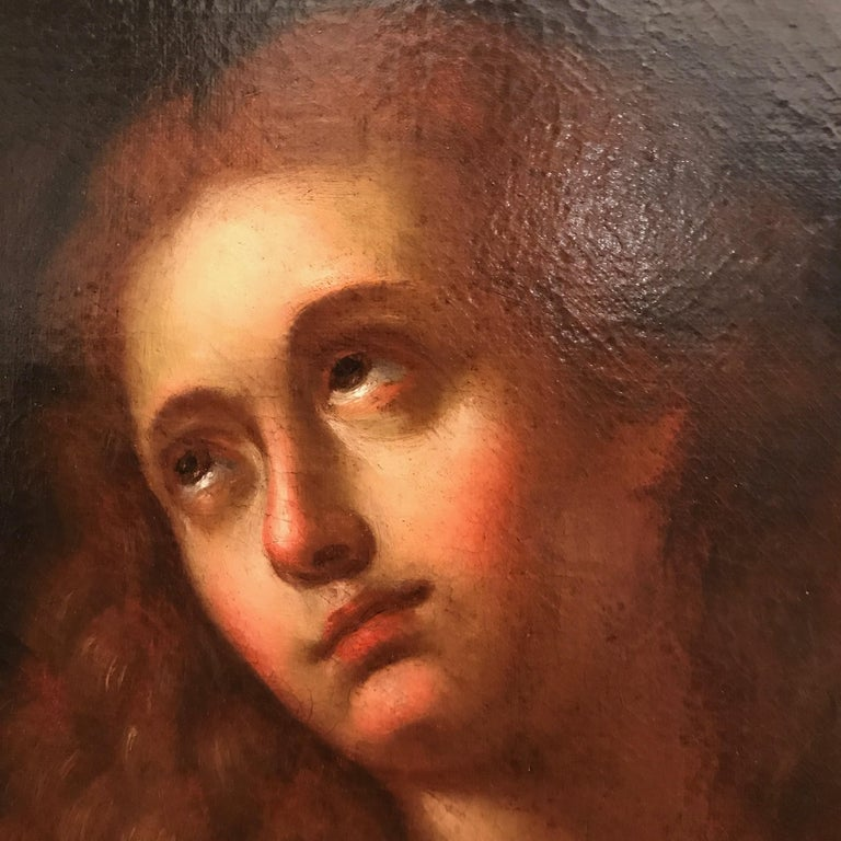 Italian Old Master Penitent Magdalene 18th Century Oil Painting on Canvas For Sale 5