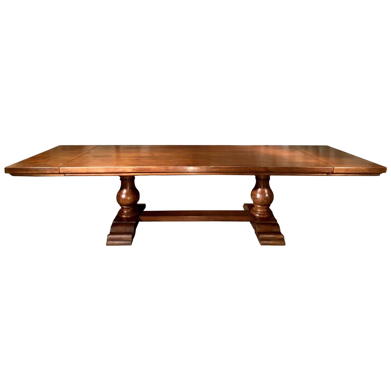 Italian Old Walnut Bocci Trestle Extension Dining Table, Available Custom Size