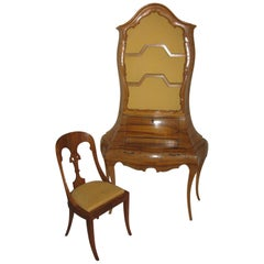 Italian Olive Burl Wood Bombe Secretary with Matching Chair