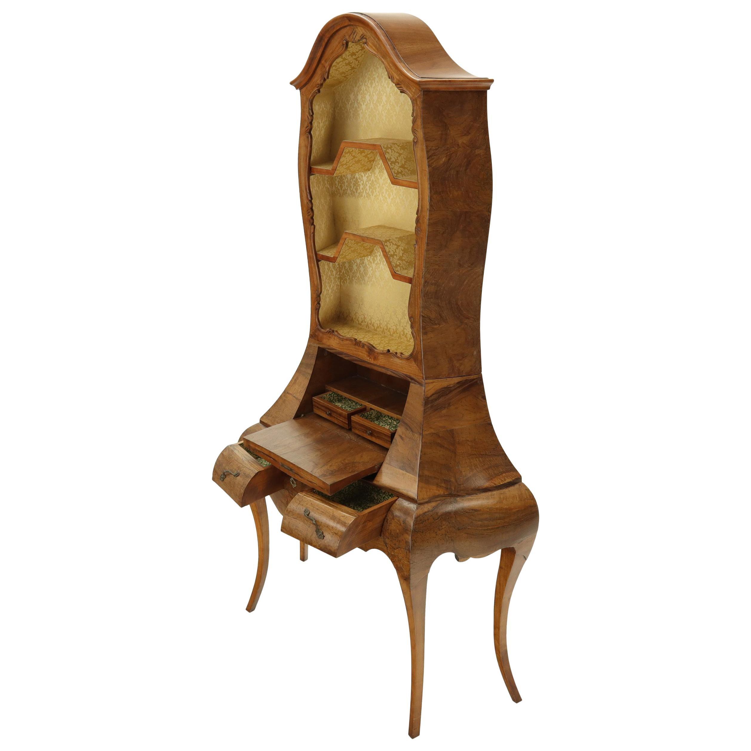 Italian Olive Burl Wood Cabriole Leg Bombay Drop Front Secretary with Bookcase
