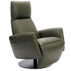 Italian Olive Colored Leather Upholstered Recliner, Poltrona Frau