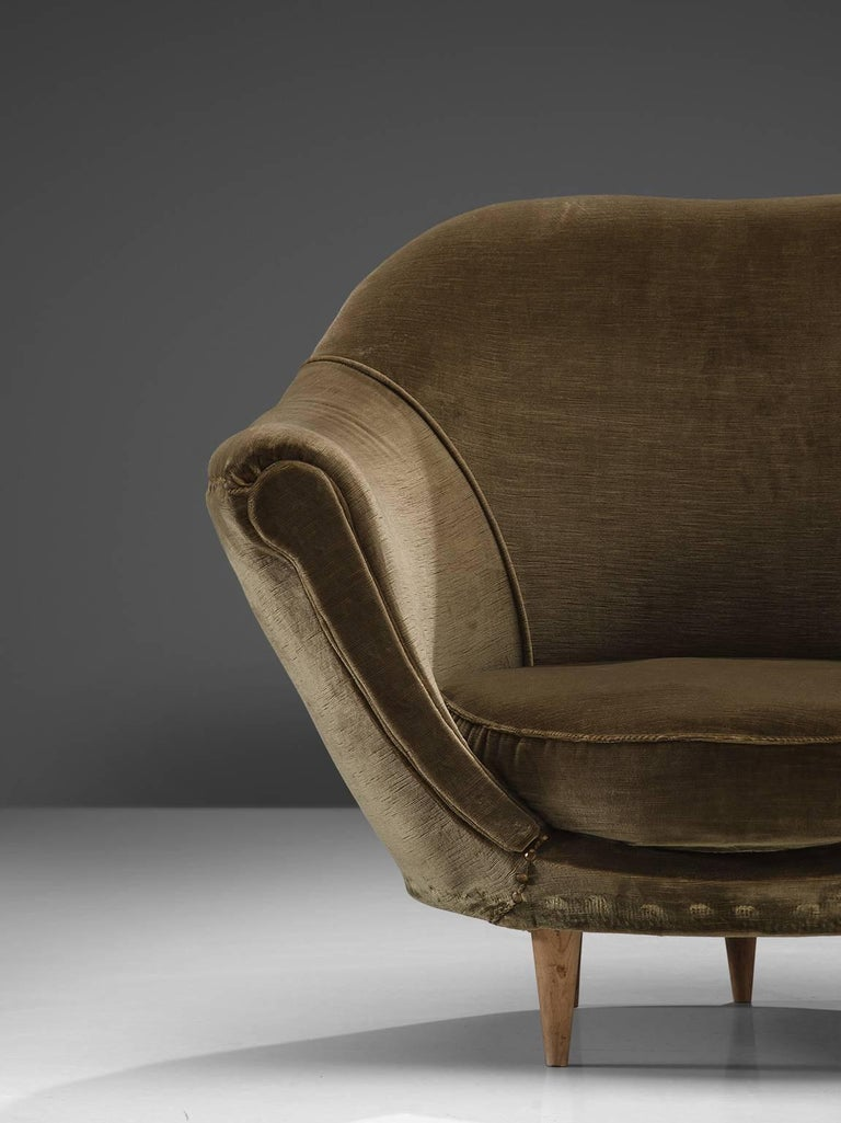 Mid 20th Century Italian Olive Green Velvet Club Chairs For