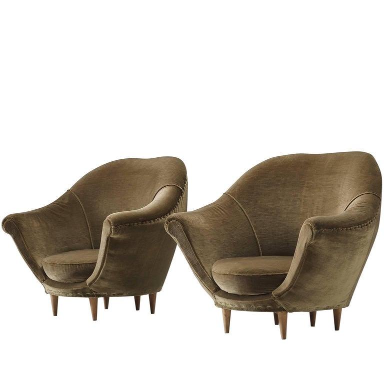 Italian Olive Green Velvet Club Chairs