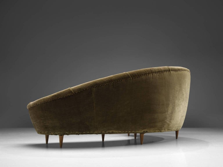 Mid-Century Modern Italian Olive Green Velvet Sofa For Sale