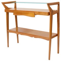 Italian One-Drawer Walnut Console Table in the Manner of Ico Parisi, circa 1955