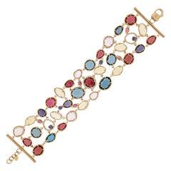 Italian Opal Sunflower Lilac Quartz Diamonds Rows Rose 18k Gold Bracelet for Her