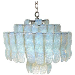 Italian Opalescent Blue Glass Chandelier