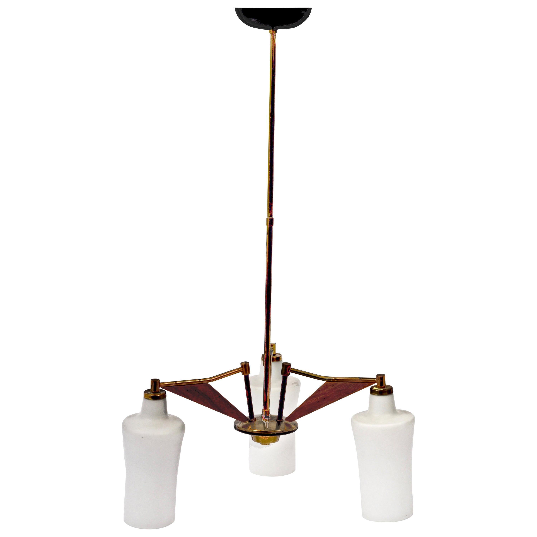 Italian Opaline Glass, Brass and Teak Chandelier Attributed to Stilnovo, 1960s