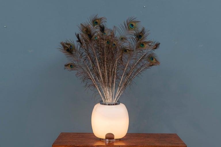 Italian Opaque Glass Table Lamp Jardinière For Sale 5