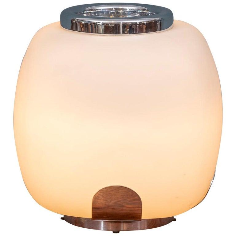 Italian Opaque Glass Table Lamp Jardinière For Sale