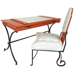 Italian Orange Lacquer Wrought Iron Desk and Chair Set