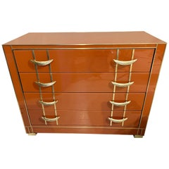 Italian Orange Opaline Glass Chest of Drawers with Brass Handles, 1980s