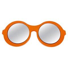 Italian Orange Plastic Wall Mirror in the Shape of Sunglasses, 1970s, Italy