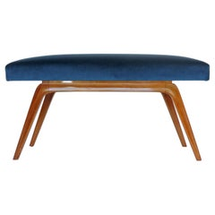 Italian Organic 1940s Wooden Bench and Blue Velvet