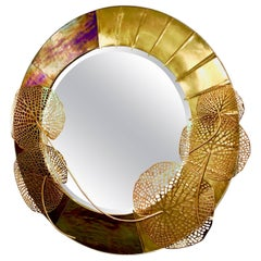 Italian Organic Brass and Opalescent Murano Glass Modern Sculpture Round Mirror