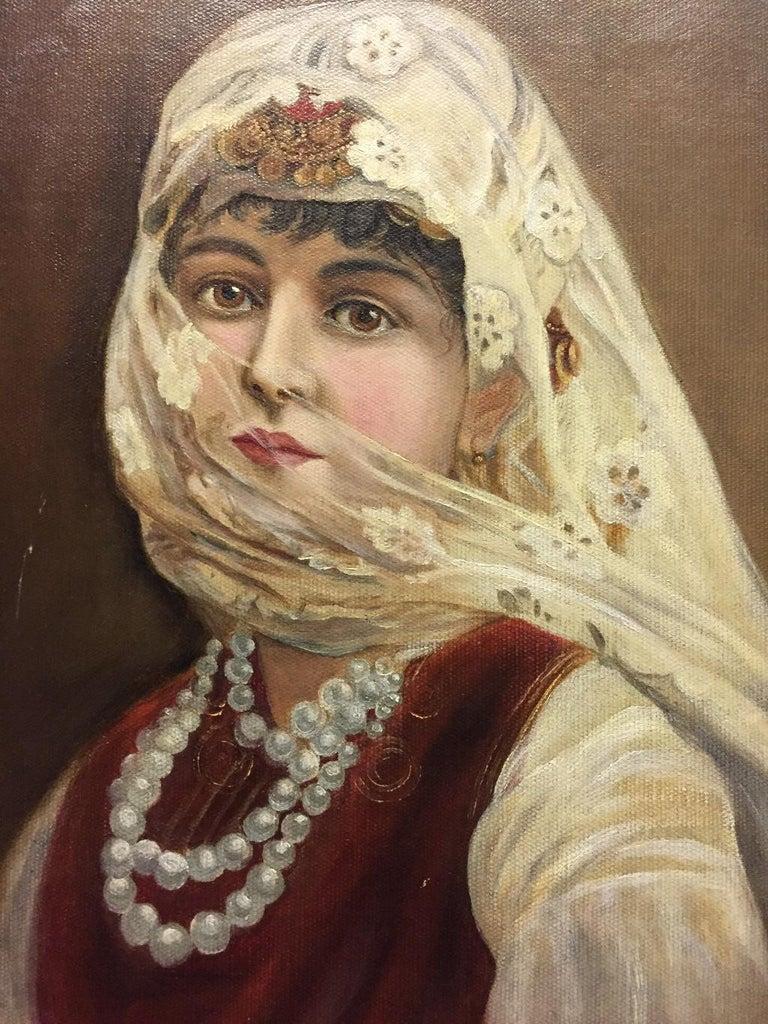 Oiled Italian Orientalist Oil on Canvas Painting For Sale