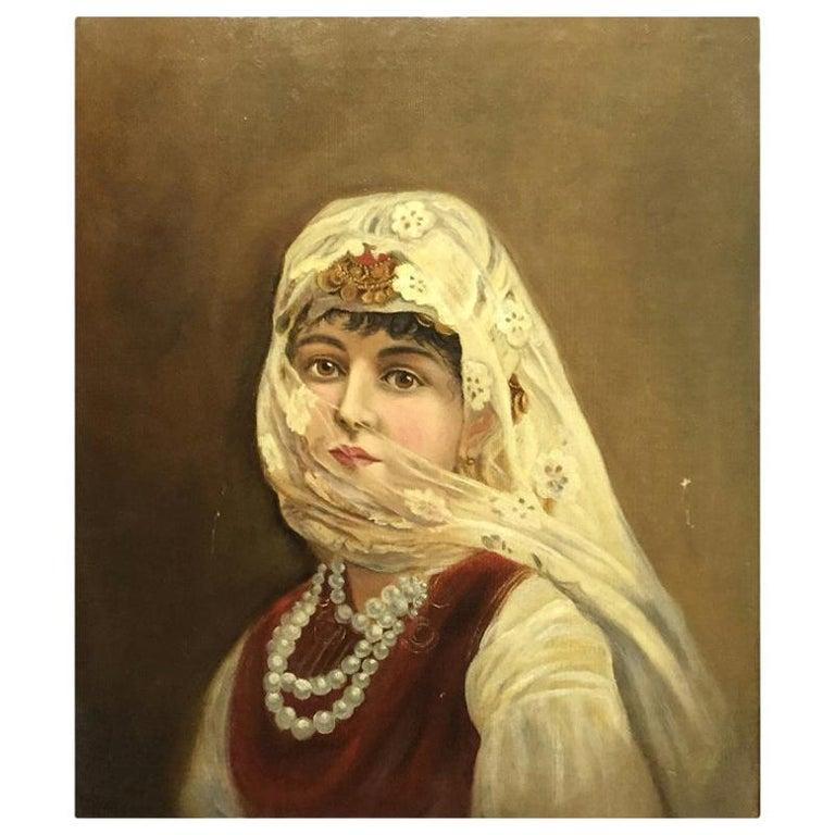 Italian Orientalist Oil on Canvas Painting For Sale