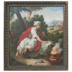 Italian Orientalist Oil Painting of Man Smoking Pipe, 18th Century