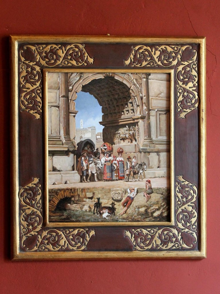This fascinating turn of the century oil on wood panel painting, depicting a view of one of the most evocative Roman ruins, contains stories from different artistic eras. The pride of Italian realism is represented in the group of villagers who,