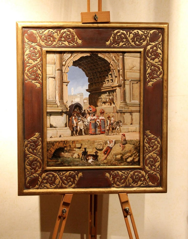 Grand Tour Italian Orientalist Style Oil on Board Painting with Classical Roman Ruins View For Sale