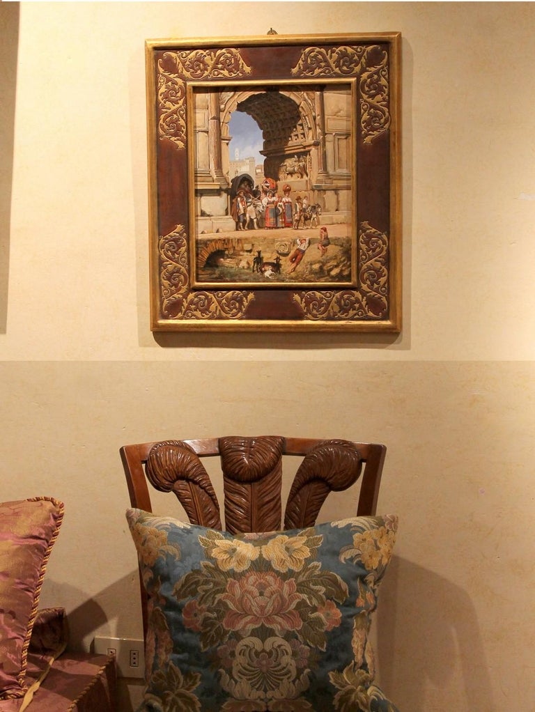 Carved Italian Orientalist Style Oil on Board Painting with Classical Roman Ruins View For Sale