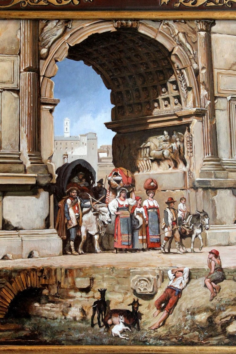 Italian Orientalist Style Oil on Board Painting with Classical Roman Ruins View In Good Condition For Sale In Firenze, IT