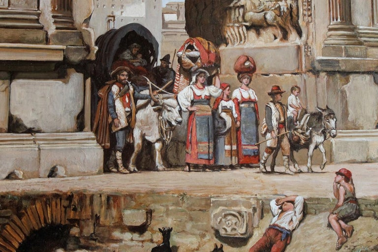 19th Century Italian Orientalist Style Oil on Board Painting with Classical Roman Ruins View For Sale