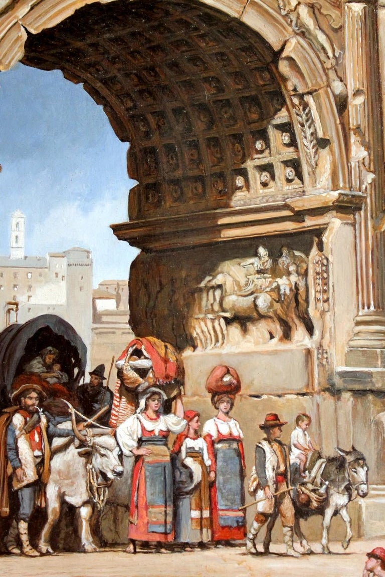 Wood Italian Orientalist Style Oil on Board Painting with Classical Roman Ruins View For Sale