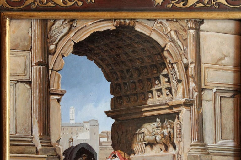 Italian Orientalist Style Oil on Board Painting with Classical Roman Ruins View For Sale 1