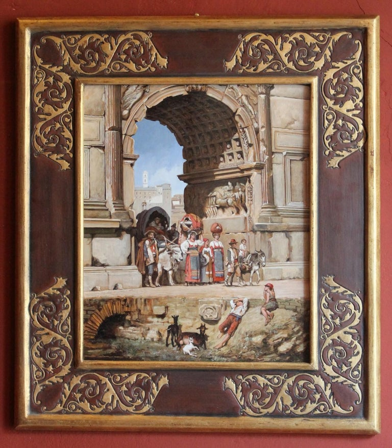 Italian Orientalist Style Oil on Board Painting with Classical Roman Ruins View For Sale 2