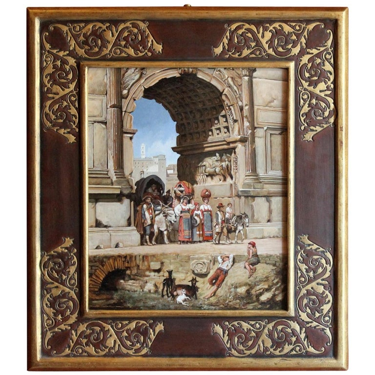 Italian Orientalist Style Oil on Board Painting with Classical Roman Ruins View For Sale