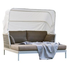 Italian Outdoor Daybed Featuring a Reclining Canopy