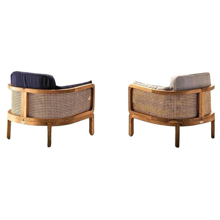 Italian Outdoor Lounge Chair Set of 2, Natural Rattan/Teak For Sale