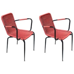 Italian Outdoor Red Scooby Chairs, 1960s