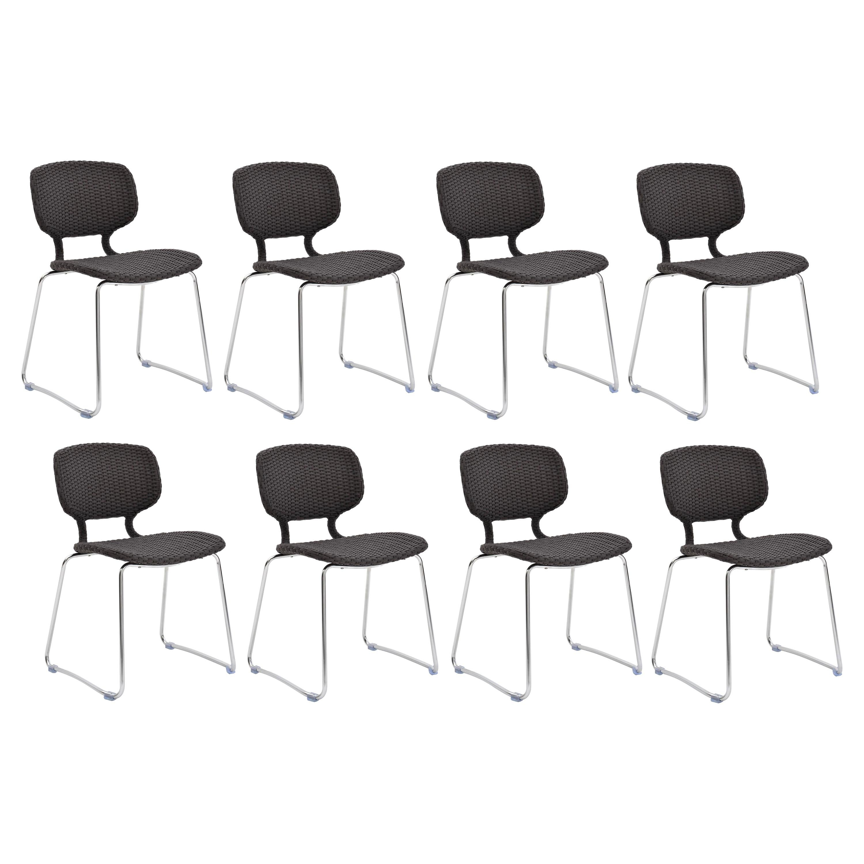 Italian Outdoor Set of 8 Stackable Dining Chairs