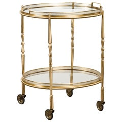 Italian Oval Brass Cart with Pierced Gallery, Glass Shelves and Casters