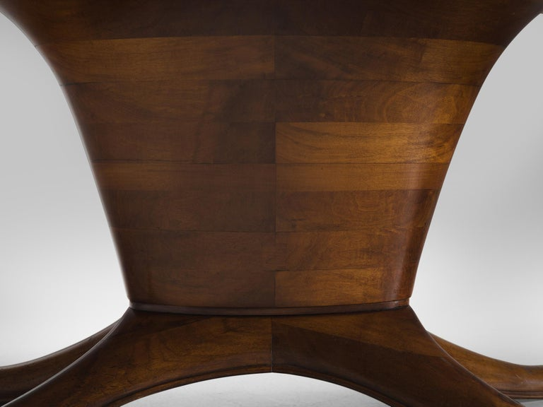 Mid-20th Century Italian Oval Dining Table in Walnut For Sale