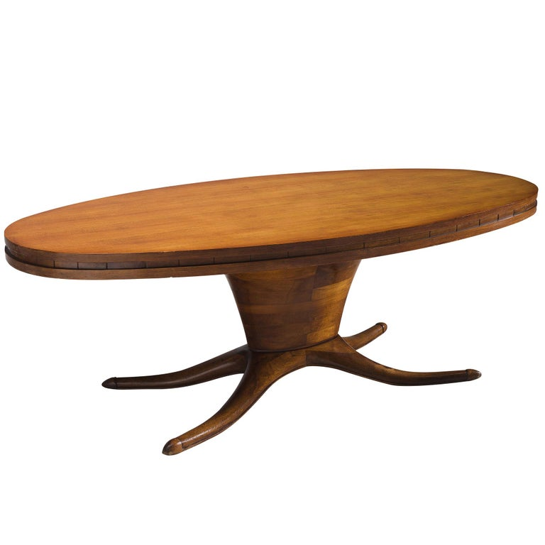 Italian Oval Dining Table in Walnut For Sale