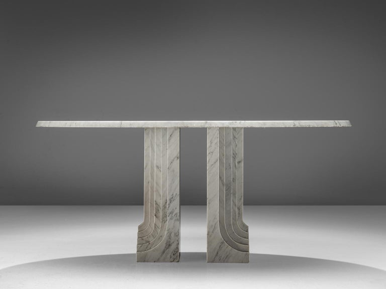Oval marble table, Italy, 1970s.
