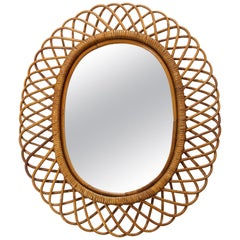 Italian Oval Framed Rattan and Bamboo Mirror by Bonacina, 1960s