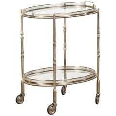 Italian Oval Midcentury Steel Trolley with Pierced Gallery and Mirrored Shelves