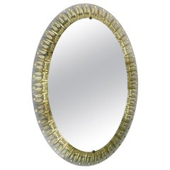 Italian Oval Mirror with Clear Beveled Glass & Gold Leaf Designed, Cristal Arte