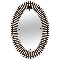 Italian Oval Rattan Mirror, 1960s