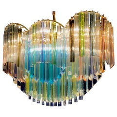 Italian Oval Shaped Multi-Color Spectacular Murano Glass Chandelier, 1970