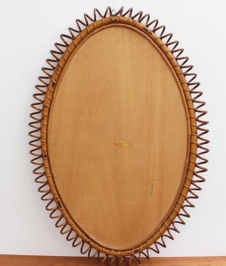 Italian Oval-Shaped Rattan Wall Mirror, circa 1960s For Sale 6