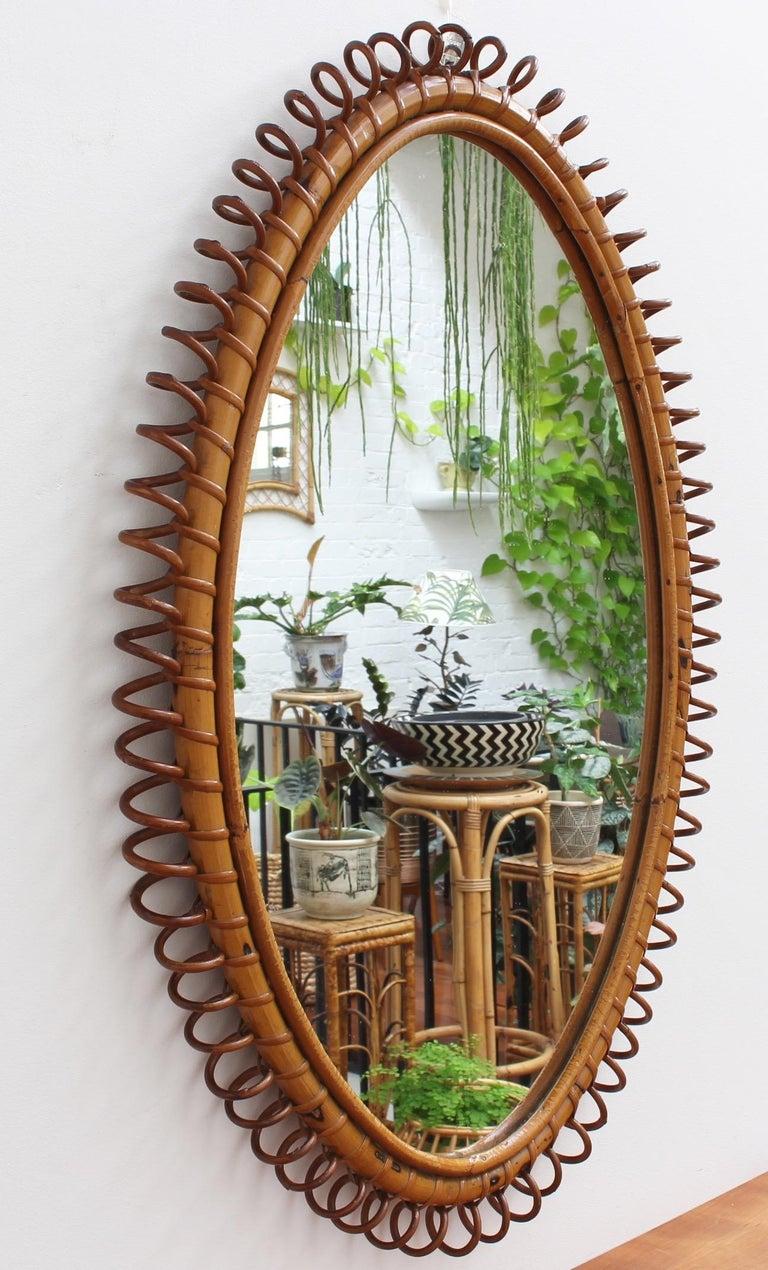 Mid-Century Modern Italian Oval-Shaped Rattan Wall Mirror, circa 1960s For Sale