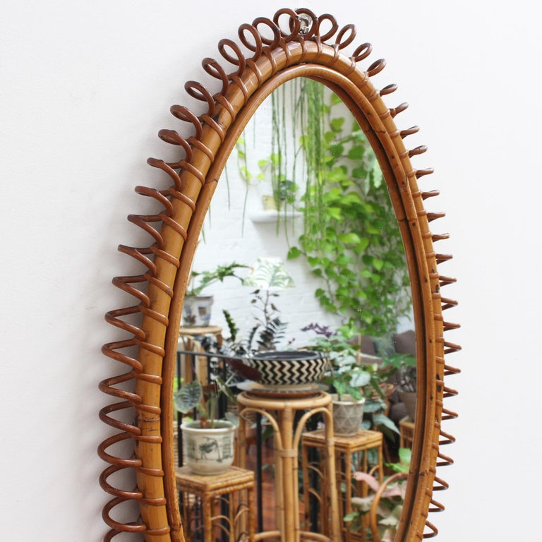 Italian Oval-Shaped Rattan Wall Mirror, circa 1960s In Good Condition For Sale In London, GB
