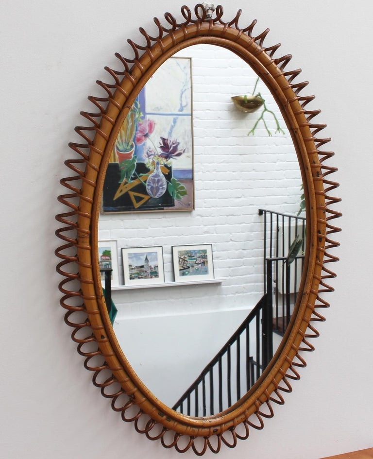 Mid-20th Century Italian Oval-Shaped Rattan Wall Mirror, circa 1960s For Sale