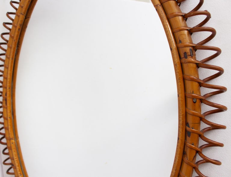 Italian Oval-Shaped Rattan Wall Mirror, circa 1960s For Sale 4